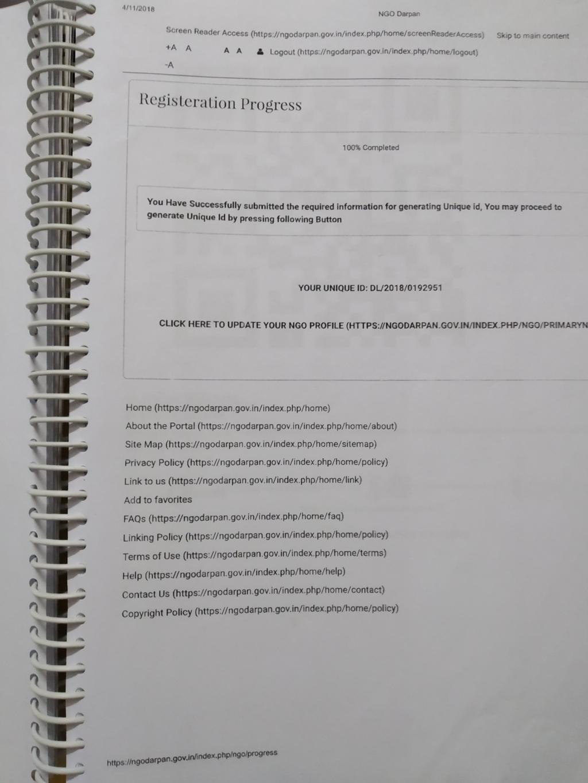 Registration in NGO Darpan